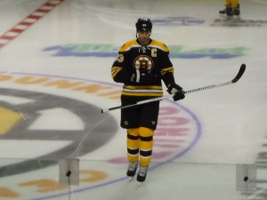 Zdeno Chara skates at the Black & Gold game