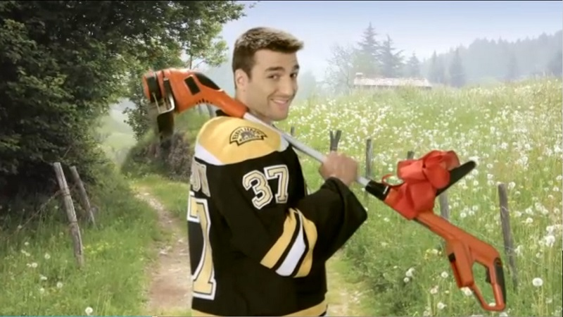 Patrice Bergeron bringing the weed whacker
